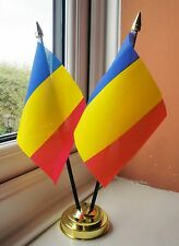 ROMANIA X2 TABLE FLAG SET 2 flags plus GOLDEN BASE ROMANIAN
