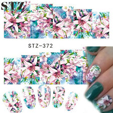 NAIL Art Water Trasferimenti Adesivi decalcomanie Fiori Rosa Blu Lily SMALTO GEL (372)