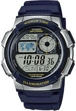 Casio AE1000W-2A World Time Digital Sports NEW Watch Alarm Chronograph BLUE