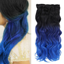 Natural Black To Blue Queentas 8pcs Ombre Clip In Full Head Hair Extensions HOT