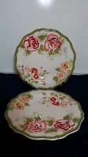"Set of 2 PIER 1 IMPORTS AUDREY HAND PAINTED EARTHENWARE 11 1/4"" DINNER PLATES"