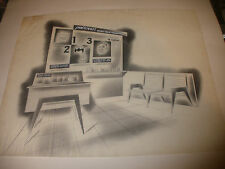 Unique artwork drawing mid century medical furniture Polident dental dentist