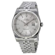 Rolex Datejust Silver Index Dial 18k White Gold Fluted Bezel Jubilee Bracelet
