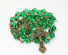 ANTIQUE BRONZE EMERALD GREEN  ROSARY,ROSARIO,ROSENKRANZ & FREE GIFT MOTHERS DAY