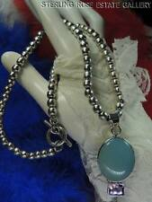 """2 1/4"""" AMETHYST Blue Chalcedony PENDANT & 6mm BEADS Sterling Silver 18"""" NECKLACE"""