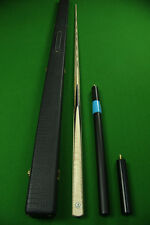 1 Piece Tiger Maple Wood+Plain Ebony Ash Shaft  Handmade Snooker Cue Set#T03