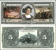 """NEW PANAMA LARGE SIZE """"SERIES OF 1918A"""" 5 BALBOAS FANTASY ART NOTE BY REED BNC!"""