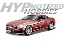 BBURAGO 1:24 MERCEDES BENZ SL 500 DIE-CAST METALLIC BURGUNDY 21067