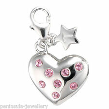 Tingle Pink stone set Heart Sterling Silver clip on Charm with Gift Box SCH145