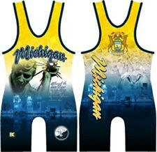 NEW Youth Boys Kids Large Michigan Avenger USA  Wrestling Singlet YL 75-90 LBS