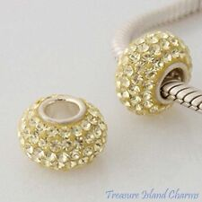 LIGHT YELLOW CZ CRYSTAL .925 Sterling Silver EUROPEAN Bead Charm SINGLE CORE