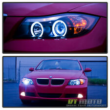 Black 2006 2007 2008 BMW E90 3-Series Sedan CCFL Angel Eye  Projector Headlights