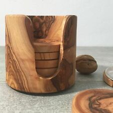 Set of 6 Olive Wood Coasters in Pot / Beer Glass Coasters, natural, handcrafted