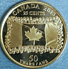 2015  GEM UNC  Non Coloured  Flag Canadian Quarter   ID #87A