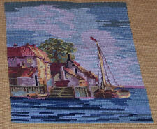 VINTAGE NEEDLEPOINT, SEASIDE LANDSCAPE, VILLAGE, SAILBOAT, READY TO FRAME