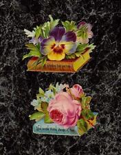 """Lot 2 Pansies Roses on Books with Notes Victorian Die Cut Scraps 2.5x1.75"""" each"""