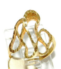 14k Yellow Gold Long Abstract Freeform Diamond Cut Ring
