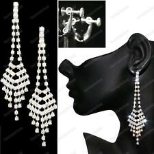 "4""long SPARKLY CLIPS silver rhinestone CLIP ON FASHION EARRINGS art deco CRYSTAL"