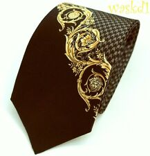 VERSACE gray HOUNDSTOOTH gold Scroll MEDUSA head silk Twill MENS tie NWT Authent