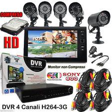 Kit Videosorveglianza DVR 4 Canali  + 4 TELECAMERE + HD SATA + 4 CAVI + 4  ALIM