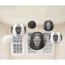 Day of the Dead Halloween Paper Hanging Lantern Decorations x 6
