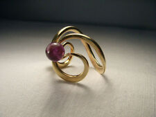 Gorgeous Estate 14K Yellow Gold Pearl Amethyst Designer Swirl Ring