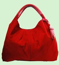 VINCE CAMUTO AMY Rio Red Nylon & Leather Satchel Tote Bag Msrp $198.00