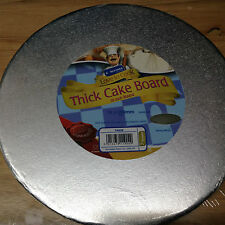 "Kingfisher 10""/25cm Round Cake Drum/Board Foil Covered & Wrapped. Home Baking."