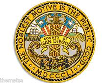 "4"" COUNTY OF SAN DIEGO SEAL HELMET CAR  BUMPER STICKER DECAL USA MADE"
