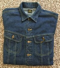 Vintage Lee Rider PATD-153438 Jean Jacket Denim Dark Blue Size M Made In USA.