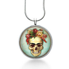 Skull with Roses Necklace - Skeleton Jewelry - Handmade - Art Pendant