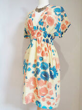 BRUUNS BAZAAR PURE COTTON SILK YELLOW FLORAL TUNIC DRESS SZ 34 UK 8