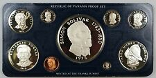 1975 Panama 9 Coin Proof Set- Bolivar- 5.7 oz Silver w/Box & COA