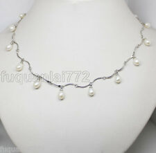 Fashion jewelry natural white freshwater pearl beads necklace strand 17 long