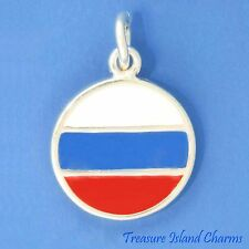 RUSSIA RUSSIAN TRICOLOR ENAMEL FLAG .925 Solid Sterling Silver Charm Pendant