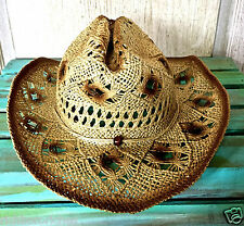 Cowboy Straw Crochet Hat by D & Y tan brown ombre bead on tie band O/S