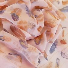 NIB CHIFFON rare HERMES Plumes SILK MOUSSELINE SCARF by H. Linares Bird Feather