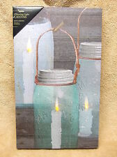 Mason Canning Jar Candle Lighted Canvas Wall Decor Sign