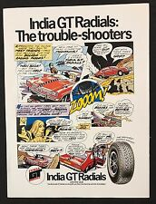 Vintage 1972 Motor Sport Magazine Ad, INDIA GT RADIAL TYRES, CARTOON, FORD CAPRI