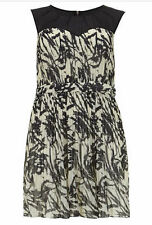 Lovedrobe Evans Sz 22 Be Simply Fabulous Black Cream Pleated DRESS Party £45