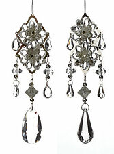 2 x Vintage style Christmas Silver & Crystal hanging ornaments Tree Decorations
