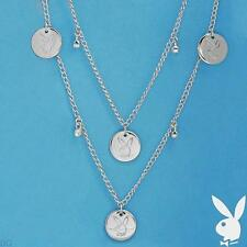 Playboy Necklace Bunny Charms Coin Medallion Swarovski Crystals Long Wrap Around