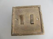Vintage Brass Double Light Switch Architectural Salvage Square Place England Old