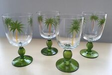Gates Ware Palm Trees Wine Glass / Goblet Stemmed Etched Hand Painted