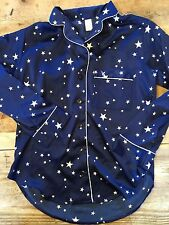 Blue Stars~LARGE~Victoria's Secret AFTERHOURS SATIN LONG-SLEEVE TOP- ONLY!