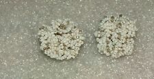 Women's Vintage White Clear Beaded Cluster Clip On Earrings