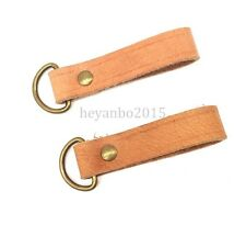2PCS WWII WW2 GERMAN ARMY WAFFEN EQUIPMENT BELT LOOP STRAPS LOOP LEATHER D-RING