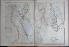 1882 LARGE ANTIQUE MAP - NILE VALLEY, EGYPT, NUBIA & ABYSSINIA, 2 MAPS