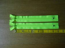 "Neon/fluorescent/hi-vis yellow closed end trouser zips/zippers. 9"" long 21cm"