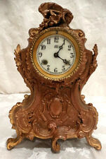 "Antique & Very Old 12"" Tall Solid Brass JBC French Mantle Clock Case & Parts"